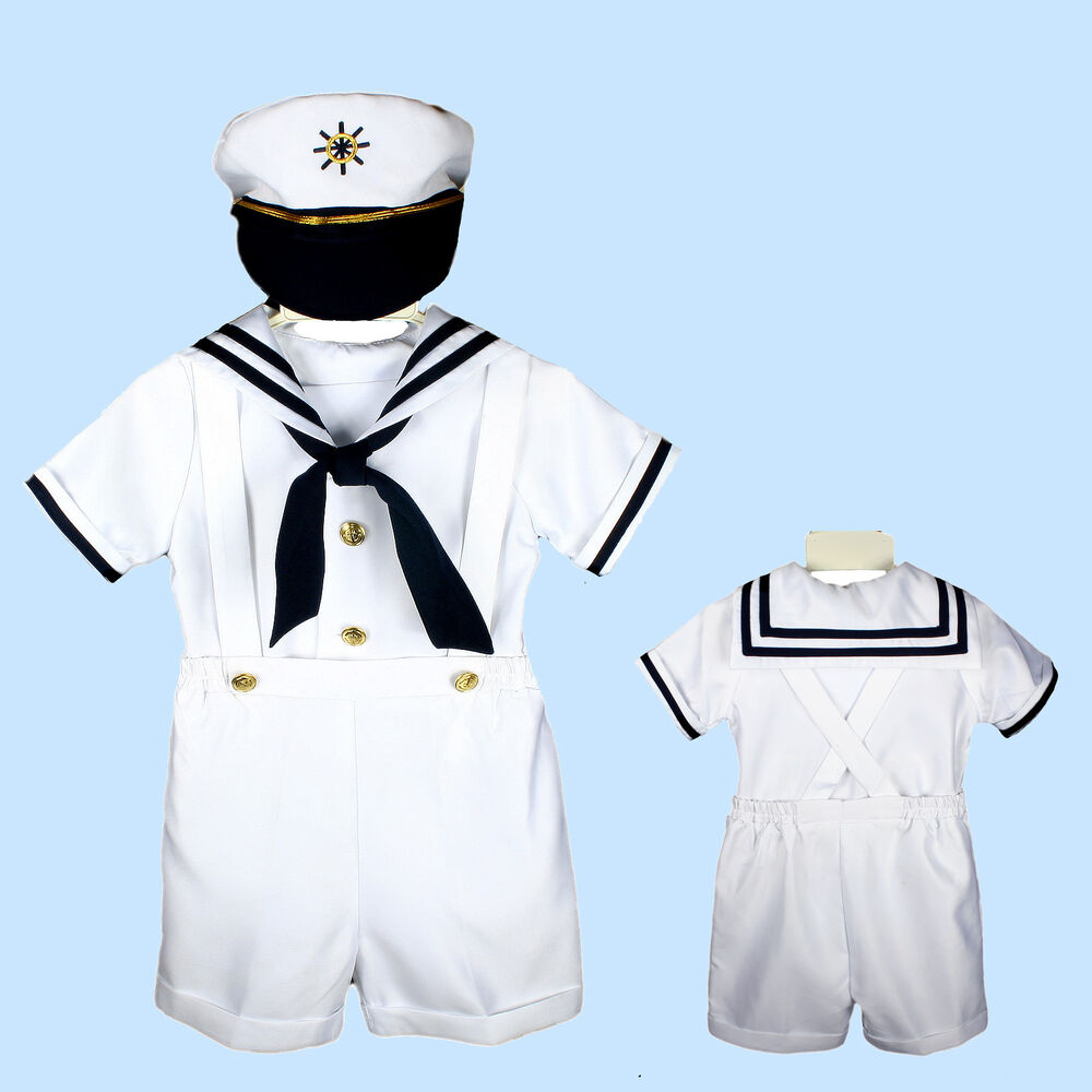 NEW SAILOR SHORTS SUIT FOR INFANT, TODDLER & BOY WHITE ...