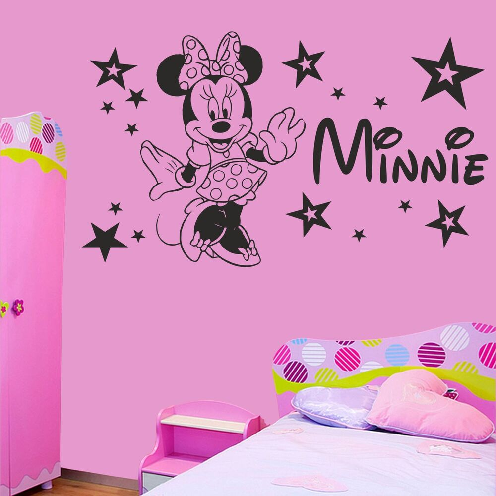minnie mouse stars girls bedroom wall sticker decal personalised with any name ebay. Black Bedroom Furniture Sets. Home Design Ideas