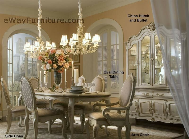 White Formal Dining Room Set Oval Wood Table 6 Chairs