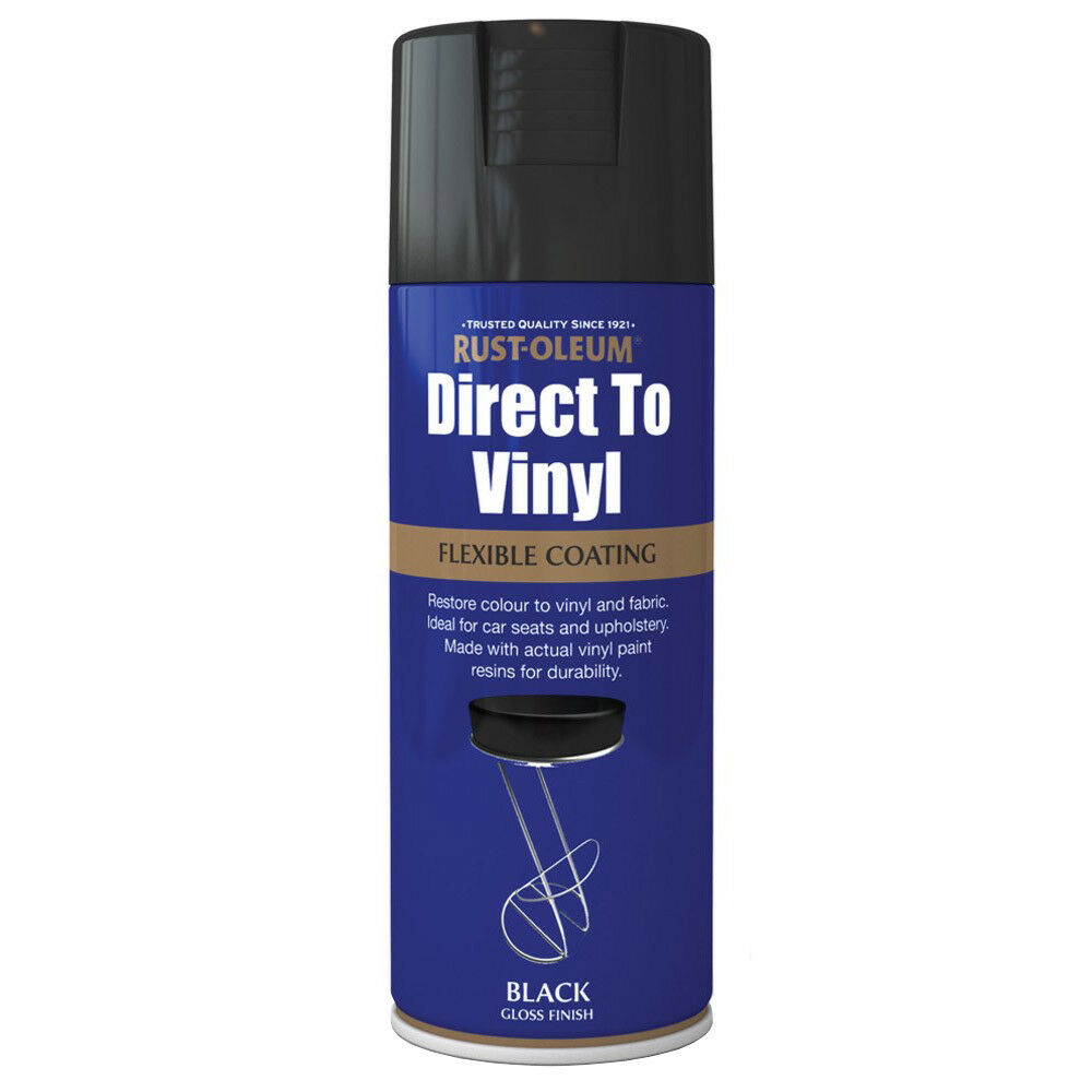 rust oleum direct to vinyl black gloss spray paint 400ml ebay. Black Bedroom Furniture Sets. Home Design Ideas