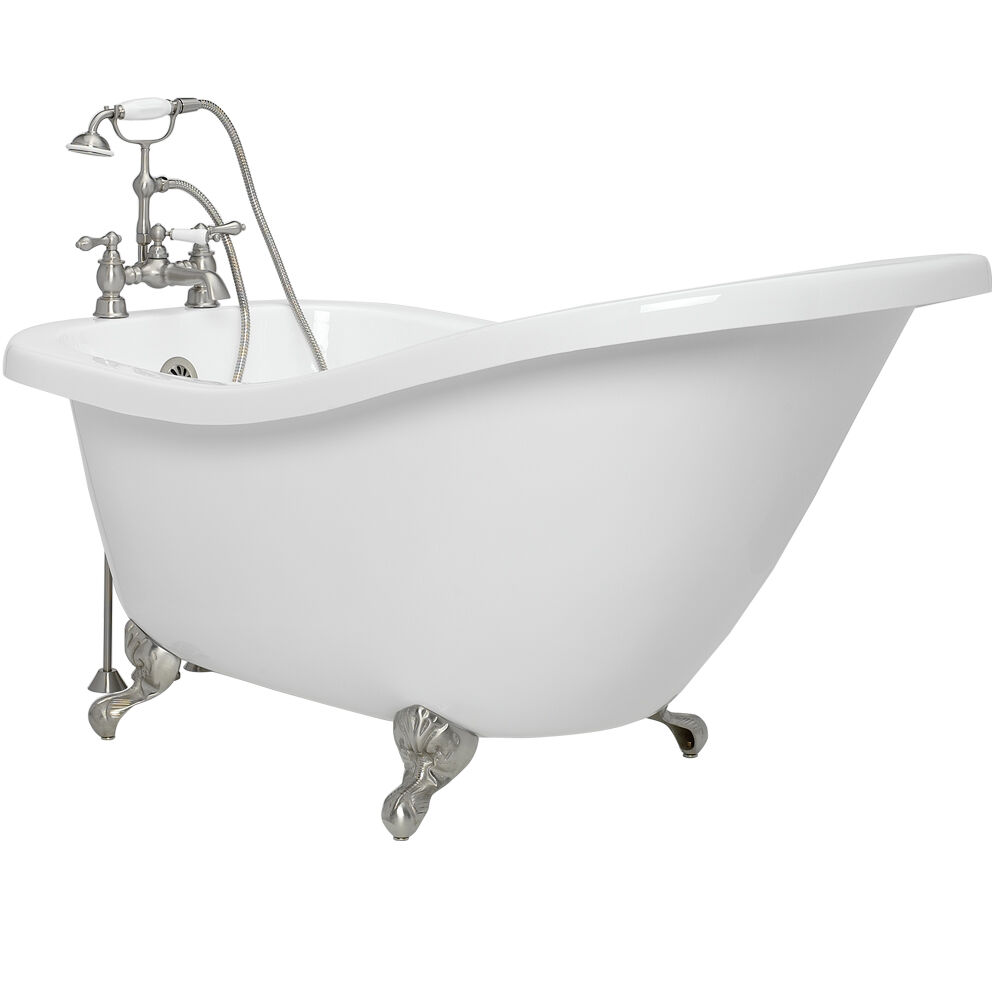 Slipper tub with jets claw foot sansiro ss59pda 59 for Claw foot soaker tub