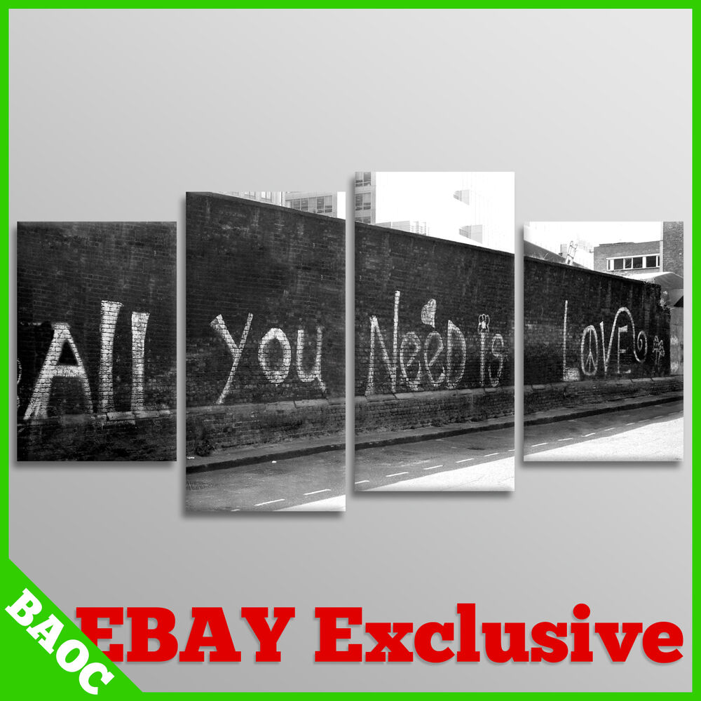 Banksy wall art all you need is love 4 panel canvas for I need art for my walls