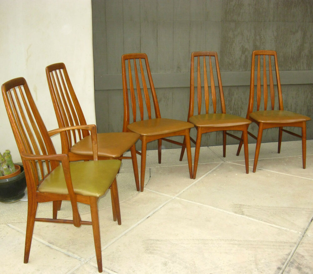 Scandinavian Dining Room Chairs: Set Of 5 Vintage Teak Danish Dining Room Chairs By