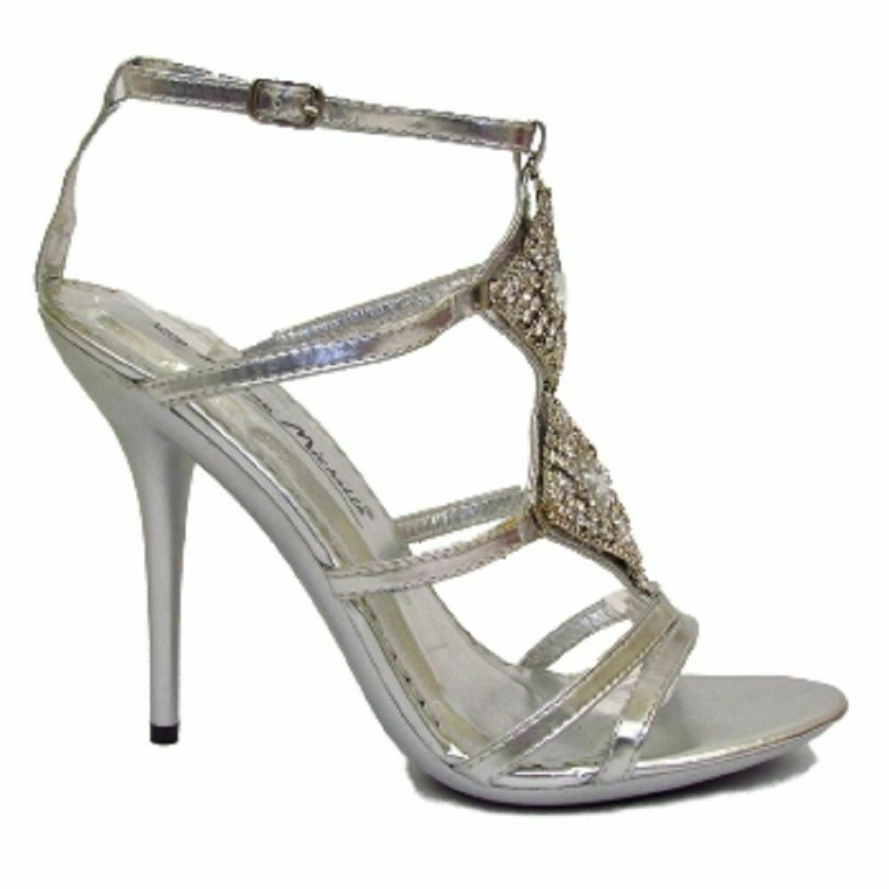 Perfect WOMENS LADIES MID HEEL GEMS GLITTER STRAPPY BRIDAL CUT OUT SANDALS SHOES SIZE | EBay