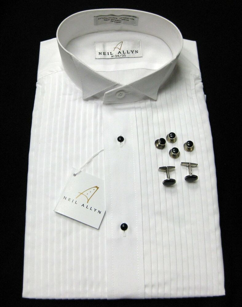 New with tags wing collar tuxedo shirt with bonus studs for Tuxedo shirt no studs