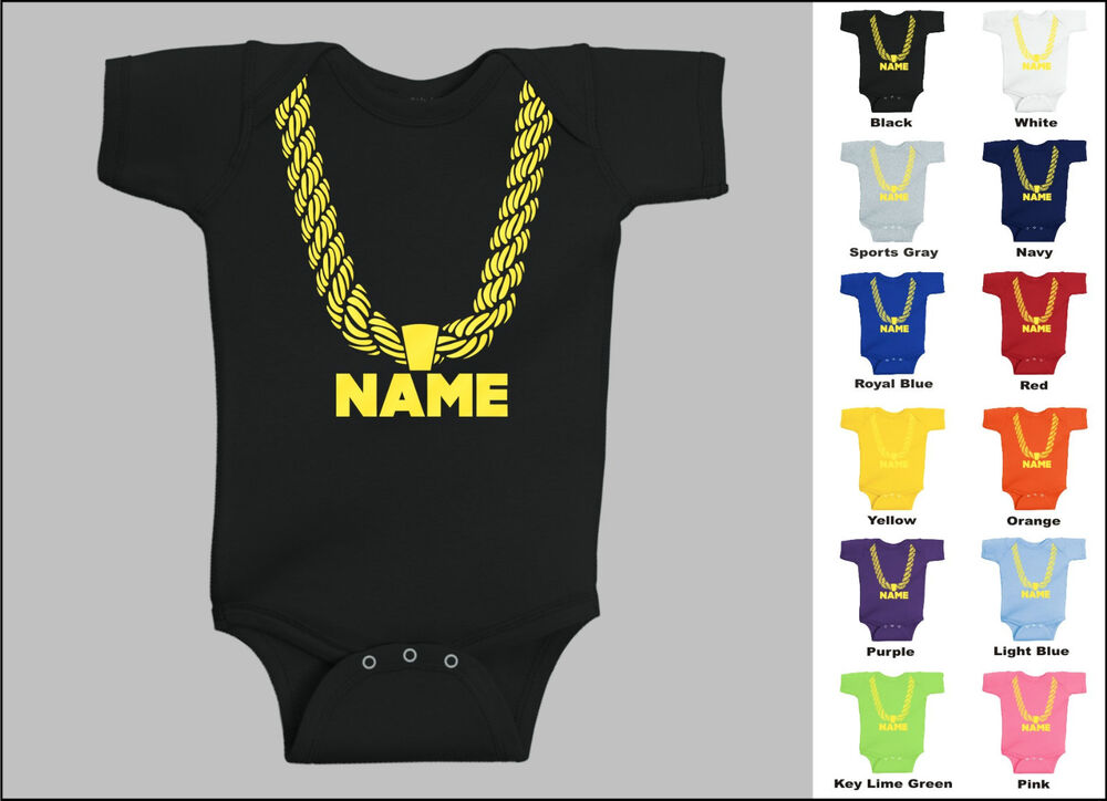 Personalized Custom Name Gold Chain Hip Hop Baby One Piece ...