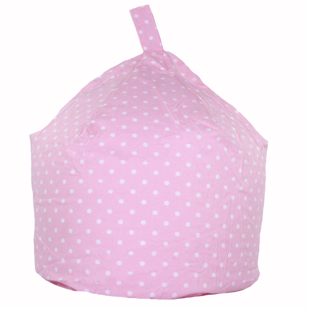 Childrens Kids Cotton Baby Pink White Polka Dot Bean Bag