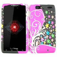 For Motorola Droid RAZR MAXX XT913 Case Flowers On Pink Black Faceplate Cover