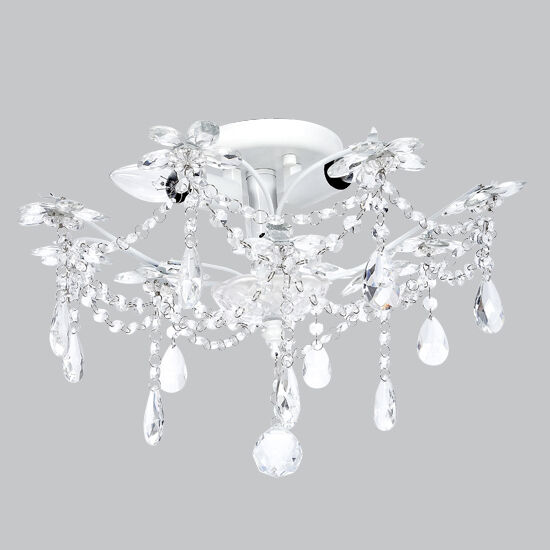 Flush mount chandelier jewels white bedroom bathroom light for Bathroom light fixtures ceiling mount