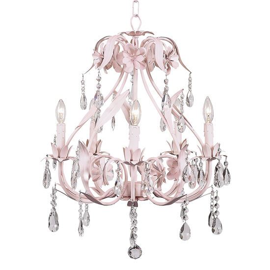 Kids Pink Crystal Chandelier Nursery Room Decor Light