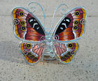 BUTTERFLY GLASS & WIRE T/LIGHT HOLDER - STANDS 16cm HIGH + 3 SOY TEA LIGHTS