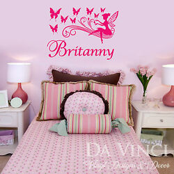 Personalized Fairy & Butterflies Girl Name Vinyl Wall Decal Sticker Decoration
