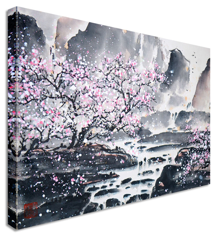 Large abstract japanese painting cherry blossom canvas for Canvas painting of cherry blossoms