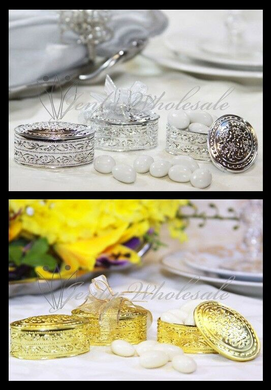 Gold silver oval plastic trinket box wedding favor