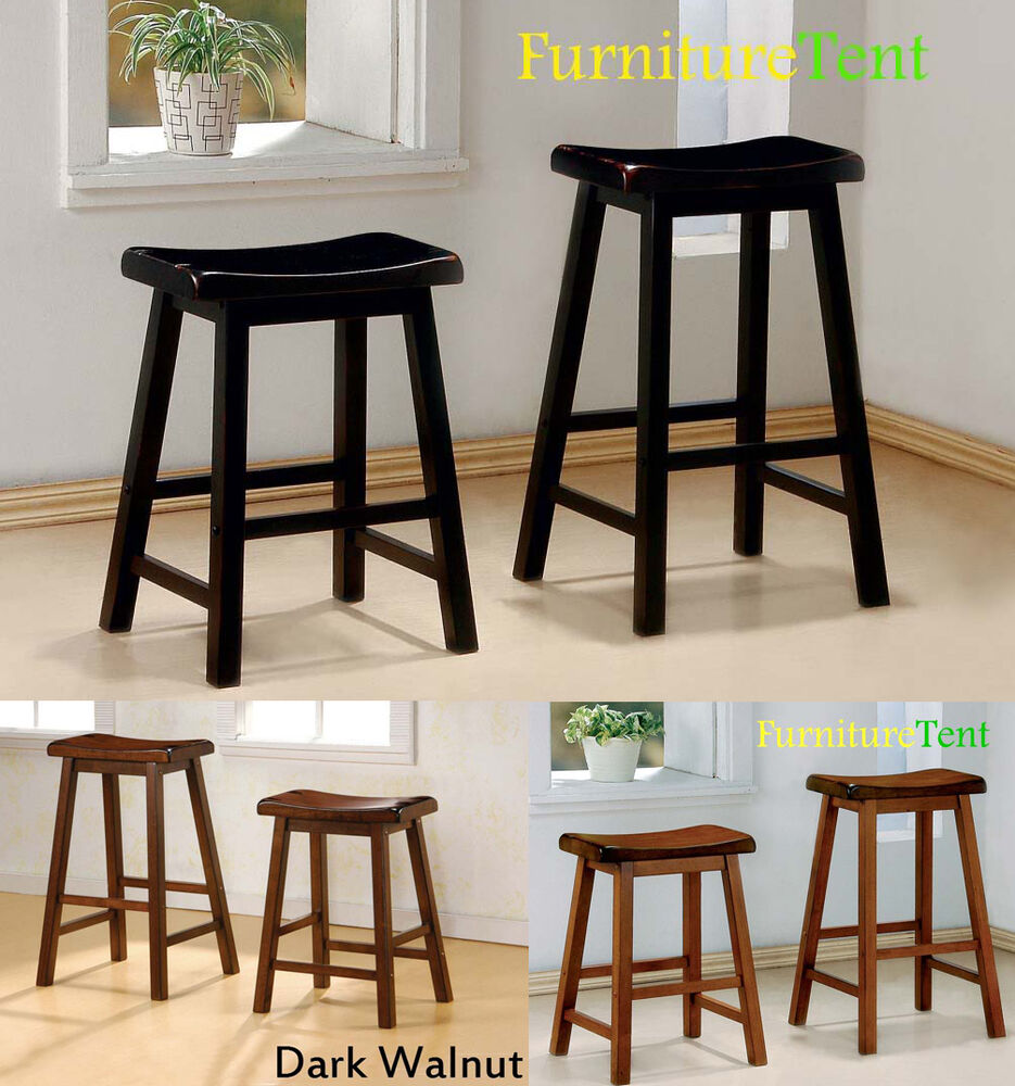 set of 2 contemporary black oak dark walnut armless wooden 24 29 bar stool ebay. Black Bedroom Furniture Sets. Home Design Ideas