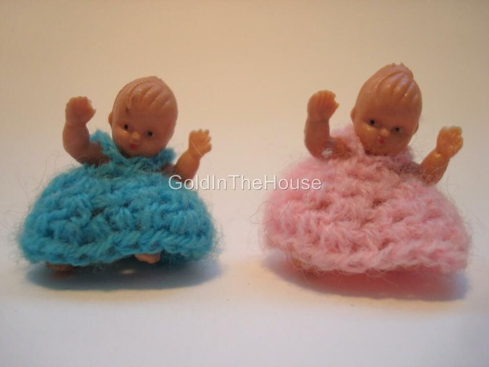 Cute Vintage Miniature Rubber Dollhouse Baby Dolls W