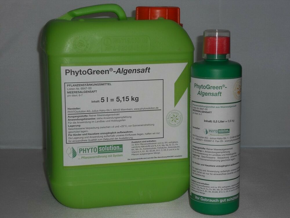 phytogreen algensaft bio d nger zur sr rkung aller pflanzen fl ssig 500 ml ebay. Black Bedroom Furniture Sets. Home Design Ideas