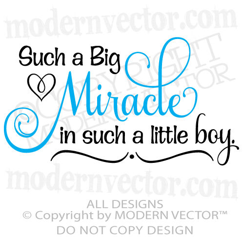 Miracle Baby Quotes: BIG MIRACLE In A LITTLE BOY Quote Vinyl Wall Decal Words