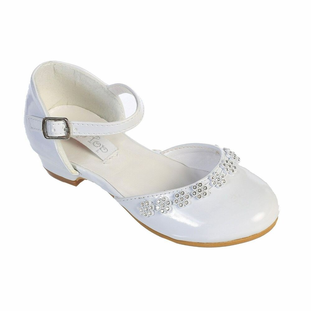 Wedding Dress Shoes: GIRLS Flower Rhinestones DRESS SHOES Pageant Birthday