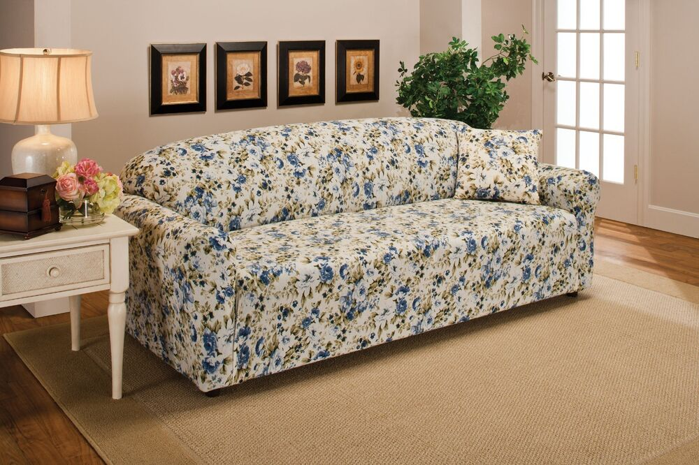 BLUE FLORAL FLOWER JERSEY SOFA STRETCH SLIPCOVER COUCH