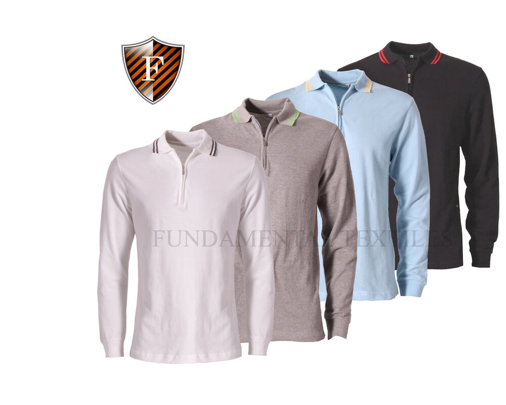 Mens Long Sleeve Polo Top Cotton Pique Shirts Collared T