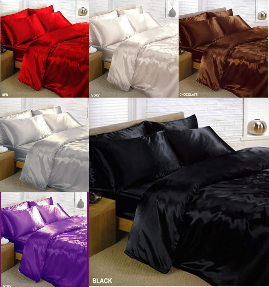 6pc satin duvet cover complete bed sheet set bedding ebay. Black Bedroom Furniture Sets. Home Design Ideas