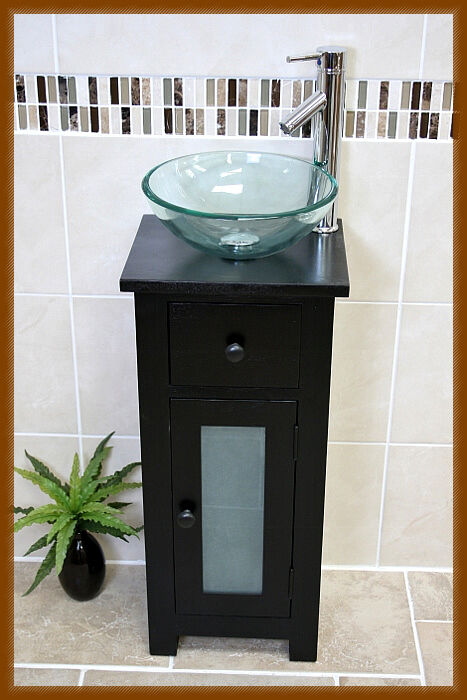 Ash Bathroom Vanity Unit Cabinet Small Cloakroom Glass Sink Bowl Basin ...