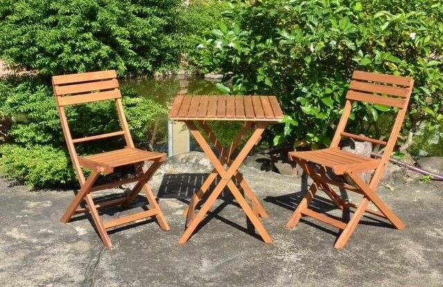 gartenset 3 teilig balkonset klapptisch klappstuhl tisch stuhl terrasse massiv ebay. Black Bedroom Furniture Sets. Home Design Ideas