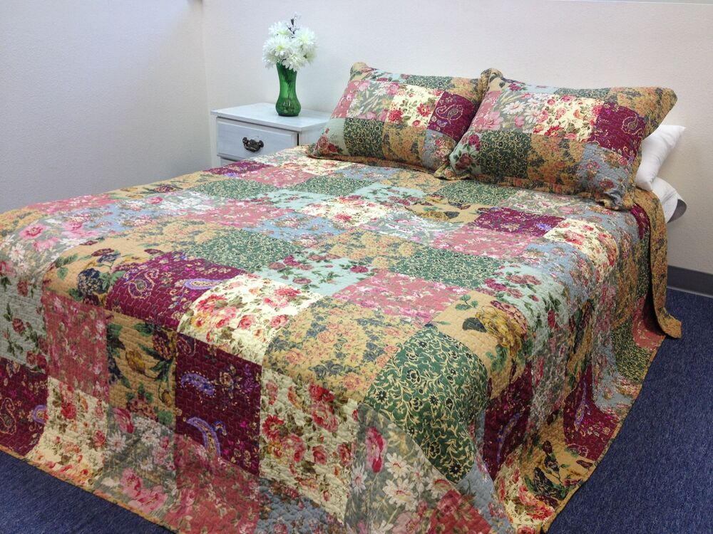 Gypsy Patchwork 100 Cotton 3 Piece Quilt Set Ebay
