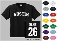 City Of Austin College Letter Custom Name & Number Personalized T-shirt