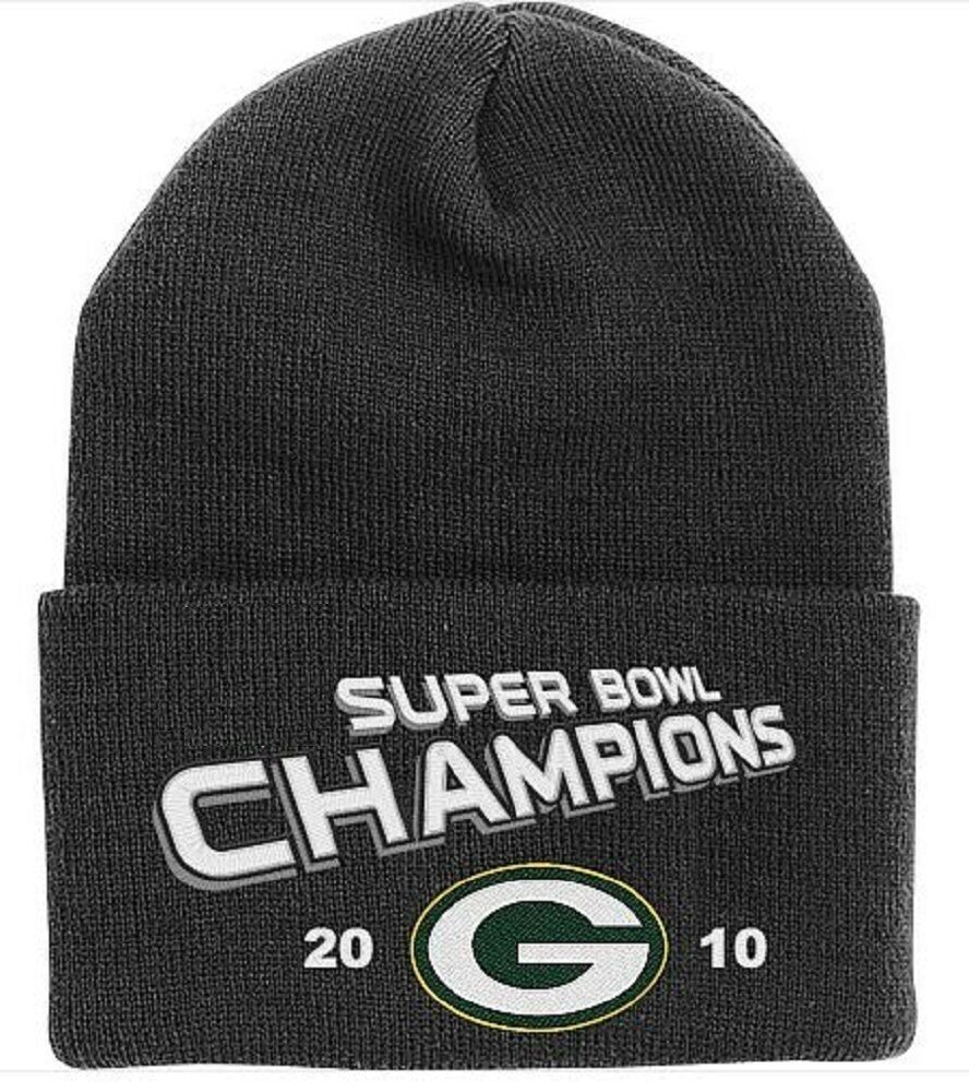 NFL Green Bay Packers Reebok 2010 Super Bowl XLV Champions Knit Hat Beanie  Cap 886047368163  61ce528ffa5