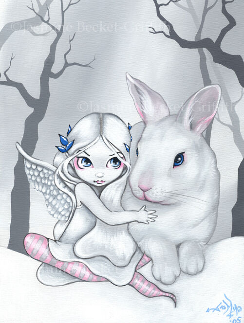 Jasmine Becket Griffith Art Print Signed Snow Bunny Angel