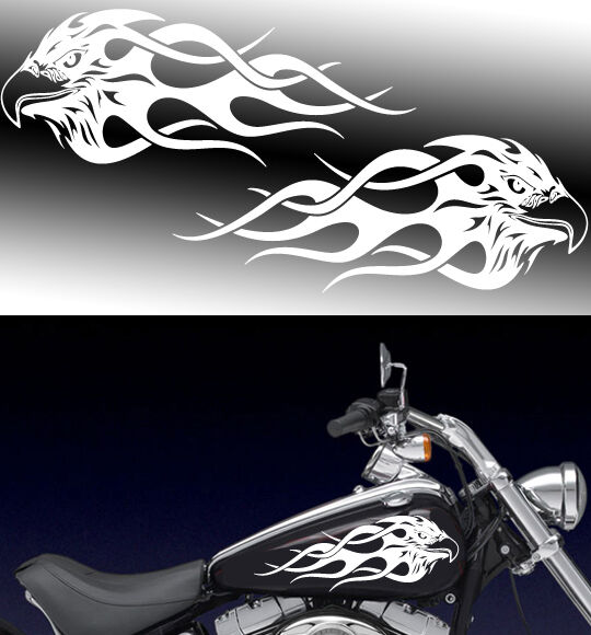 Motorcycle Flaming Eagle Gas Tank Badge Decals Harley Ebay