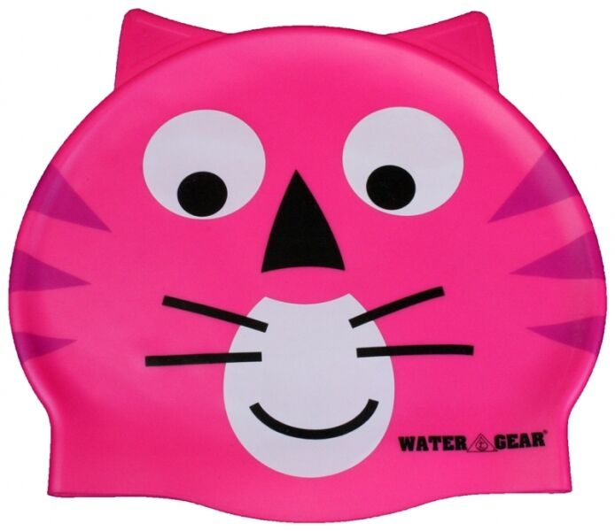 Critter learn to swim cap pink cat silicone kids swimming for Swimming fish cat toy