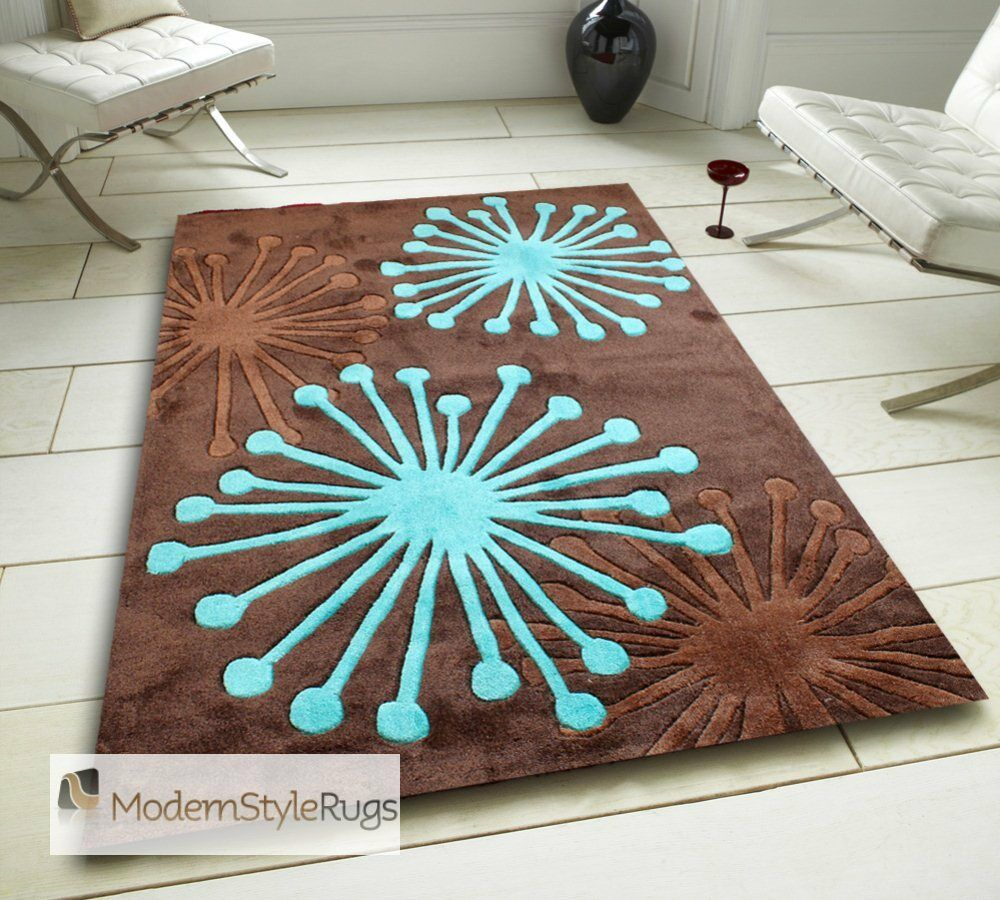 Starburst Chocolate Brown And Teal Blue Splash Design Rug