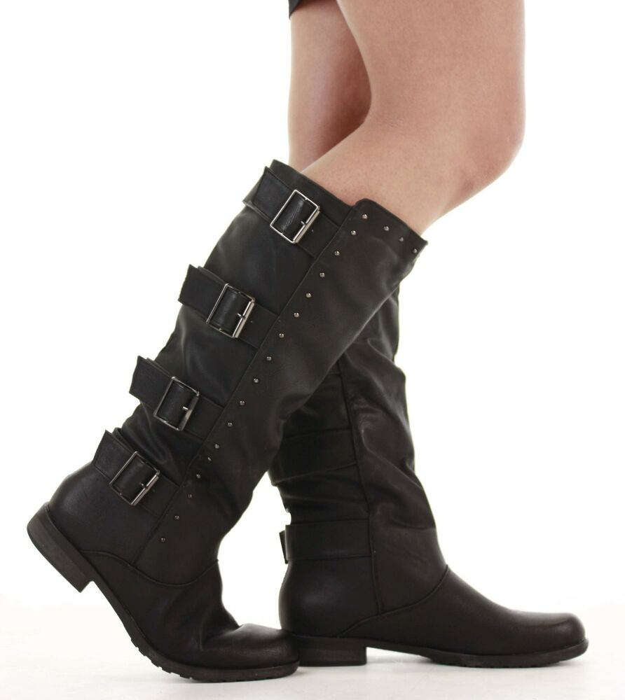 flat winter biker style low heel wide calf high leg