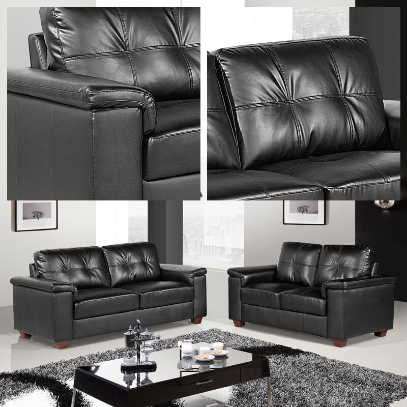 Windsor black leather 3 seater 2 seater sofas two piece for Furniture 3 piece suites