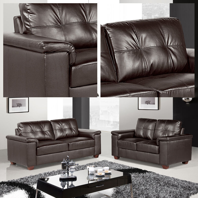 Windsor Dark Brown Leather 3 Seater 2 Seater Sofas Two