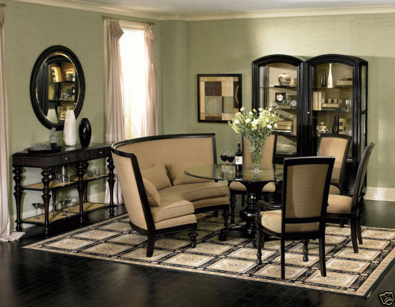 ventura traditional banquette style round dining room table chairs set furniture ebay. Black Bedroom Furniture Sets. Home Design Ideas