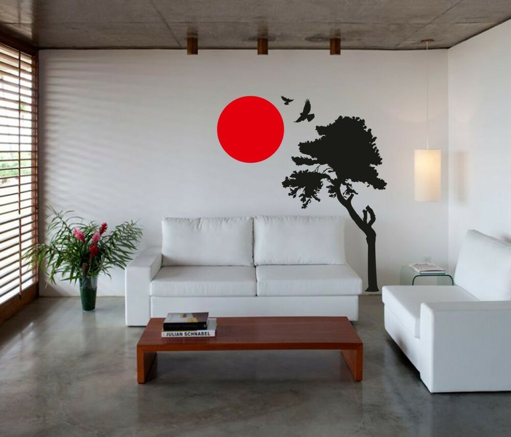 Wall Art Sticker Decal Vinyl Japanese Oriental Tree Sunset EBay - Japanese wall decals