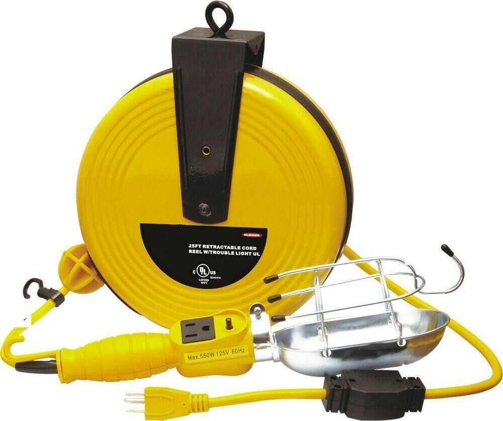 25 Ft Retractable Cord Reel W Trouble Light Drop Light