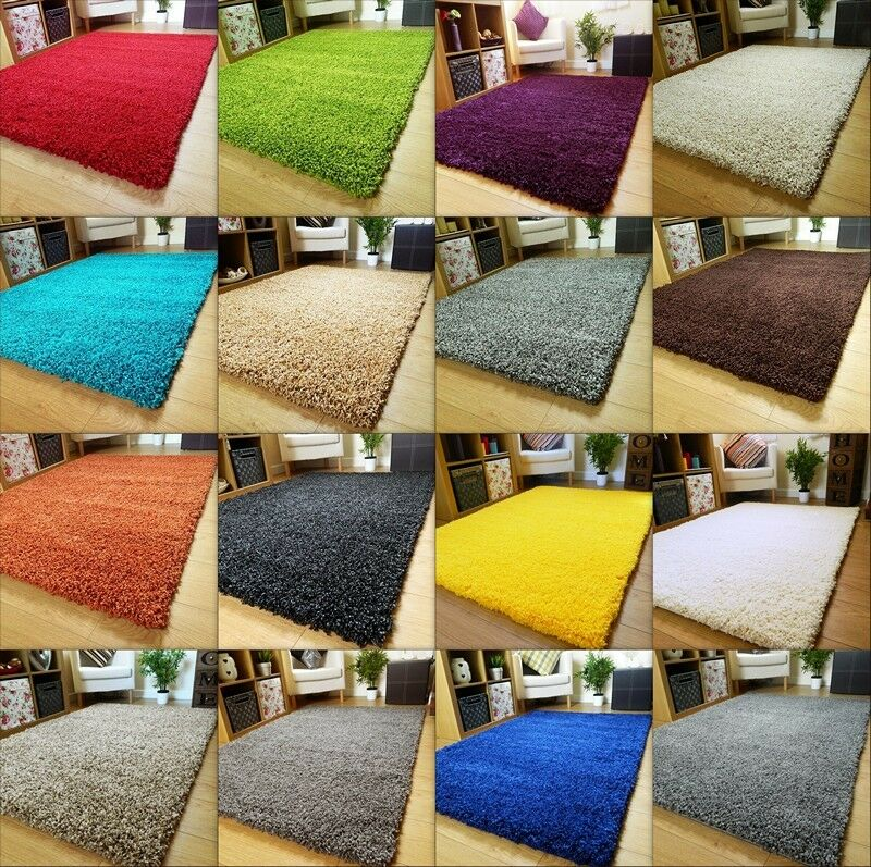 SMALL X LARGE SIZE THICK PLAIN SOFT SHAGGY RUG NON SHED