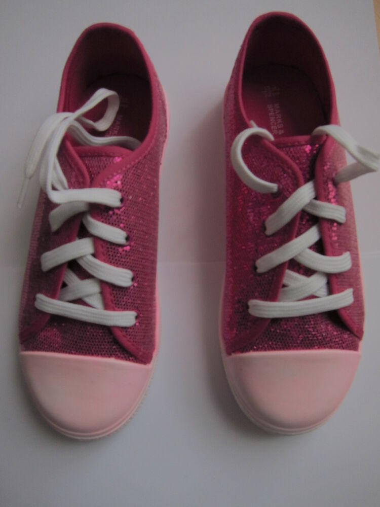 new marks and spencer pink white casual shoes pumps