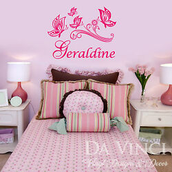 Personalized Custom Butterflies Girl Name Vinyl Wall Decal Sticker Decoration