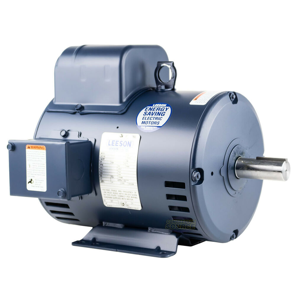 5 hp single phase leeson electric compressor motor 184t for Single phase motor drive