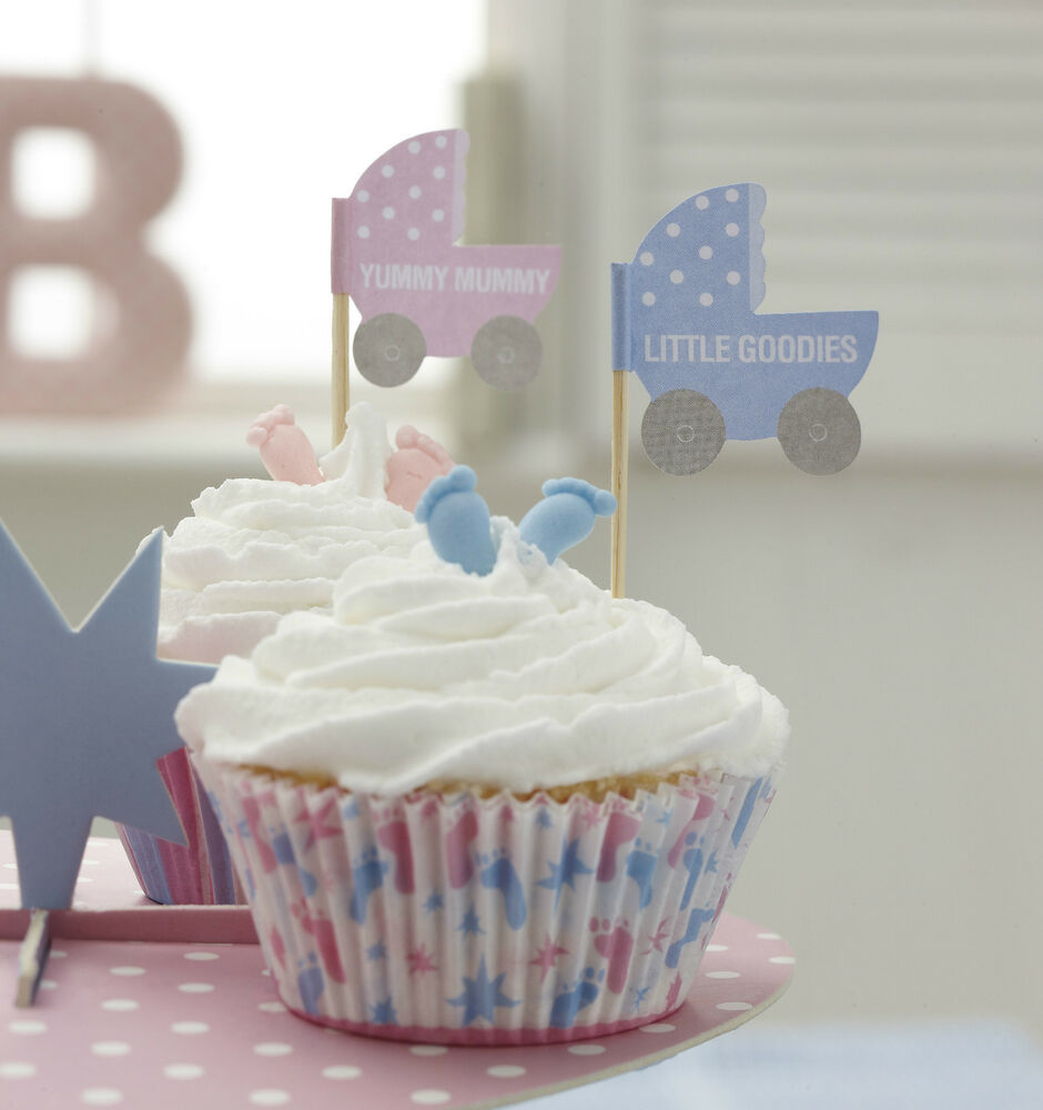 20 cupcake bun flag table decoration for baby shower for Decoration table bapteme