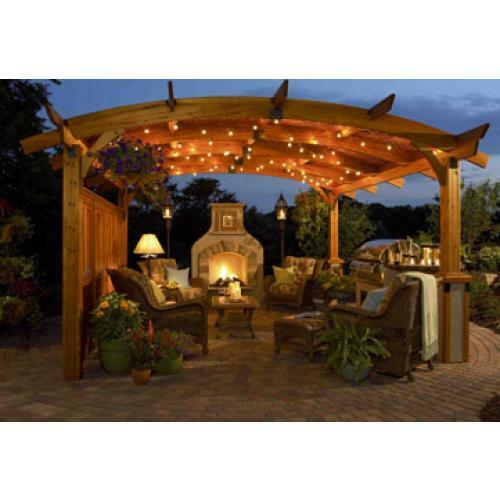 Pergola Off Of An Existing Covered Porch: Complete 16'X16' Sonoma Pergola,REDWOOD Or MOCHA, Patio