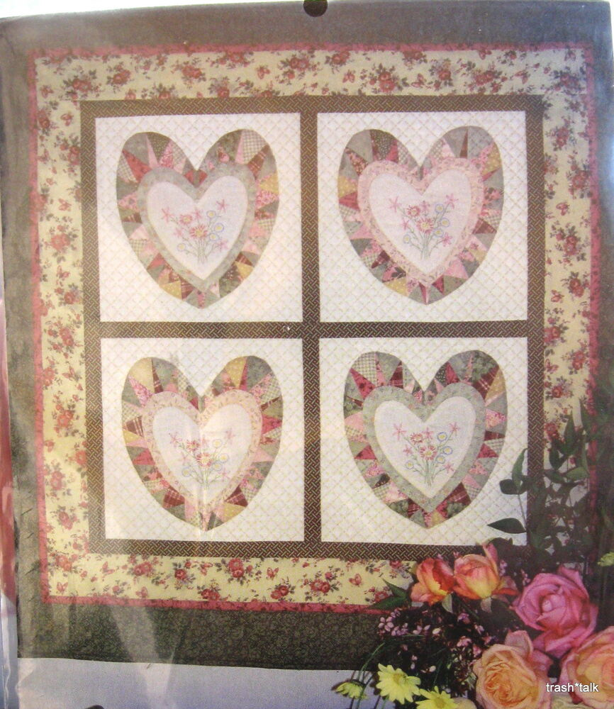 Scrap quilt pattern HEART Flower embroidery wallhanging 39