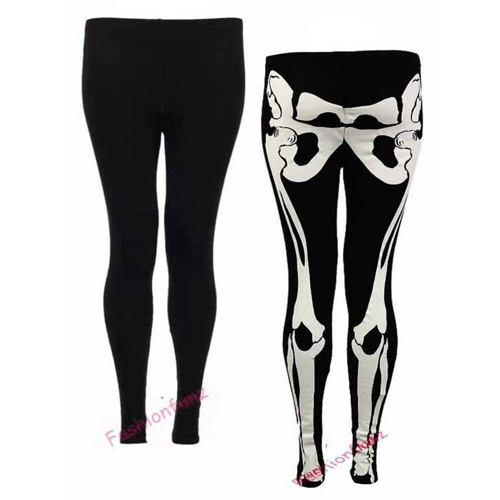 UNIQUE DESIGN: Fun skeleton print on front and back, casual women's Sister Amy Women's High Waist Pure Color Digital Printted Ankle Elastic Tights Legging by Sister Amy.