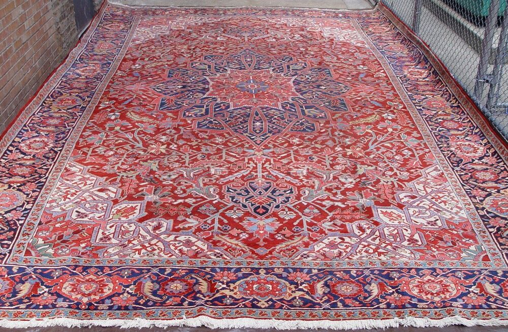 12 X 18 Semi Antique Genuine Persian Heriz Hand Knotted